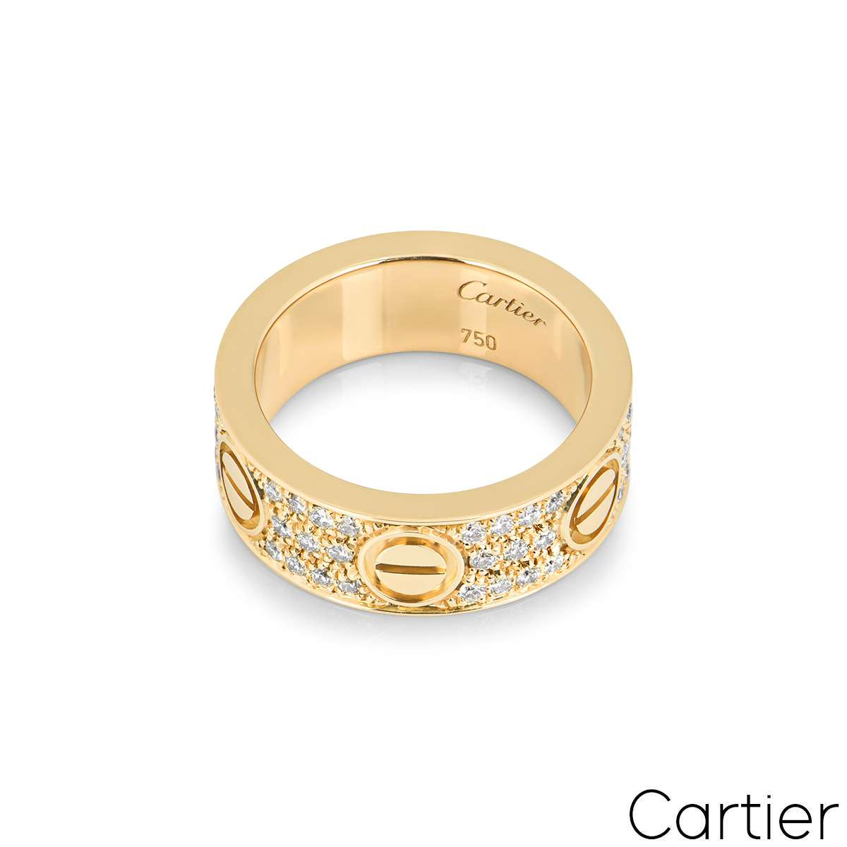 Cartier Yellow Gold Pave Diamond Love Ring Size 48